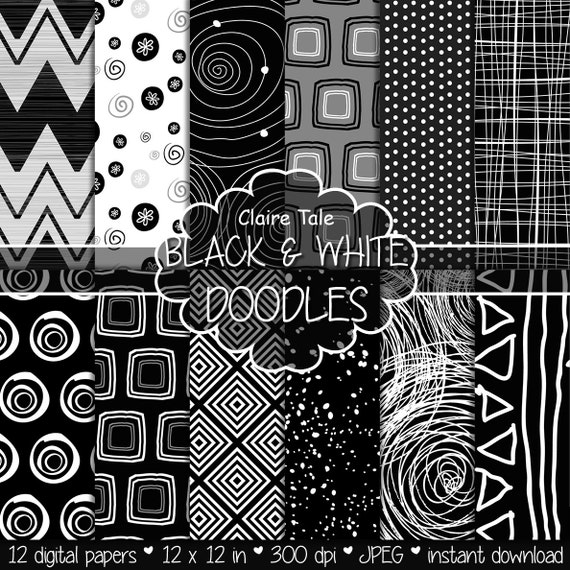 "Doodle digital paper: ""BLACK & WHITE DOODLES"" with doodles, chevrons, square, circle, triangles, stripes, spatter, polkadot and ink patterns"
