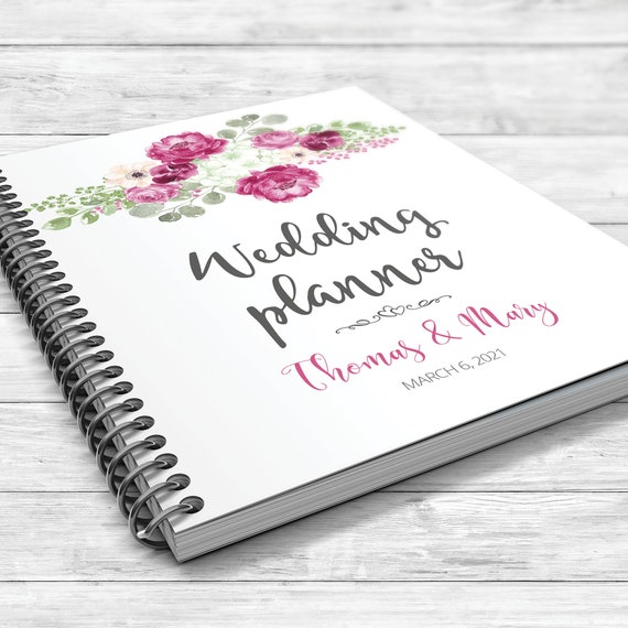 Boho wedding planner, Fuchsia wedding planner, Floral planning book,  Fuchsia green boho binder, Bridal shower gift,  Spring wedding planner