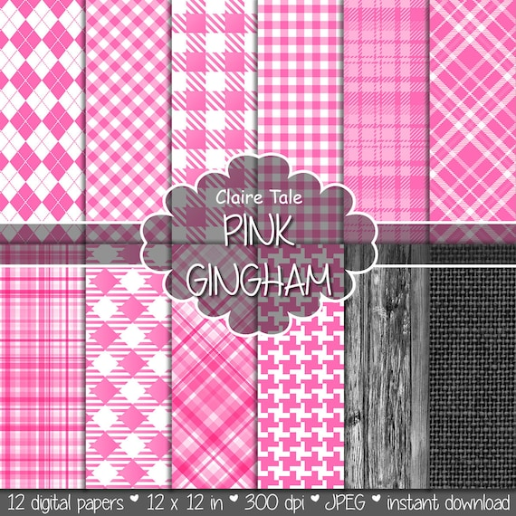 Pink gingham digital paper, Pink gingham pattern, Pink tartan digital, Pink gingham baby shower printable paper, Pink gingham scrapbooking