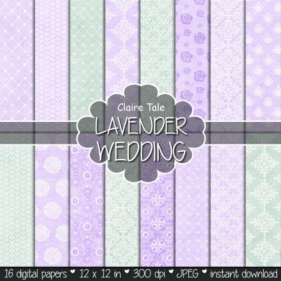 "Wedding digital paper: ""LAVENDER WEDDING PAPER"" with damask, roses, flowers, lace, hearts patterns / lavender wedding background"