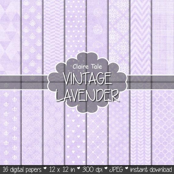 "Purple digital paper: ""VINTAGE LAVENDER PAPER"" with triangles, damask, lace, chevrons, crosshatch, quatrefoil on vintage background"