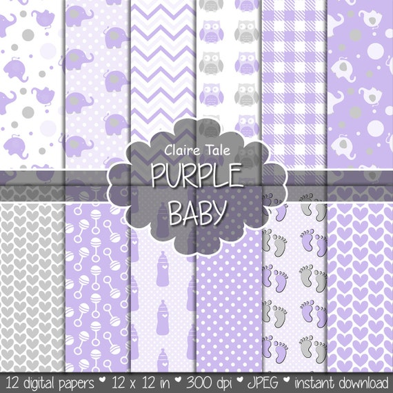 "Baby digital paper: ""PURPLE BABY"" with elephants, foot print, hearts, rattles, baby bottles, owls, gingham, polka dots in purple and grey"