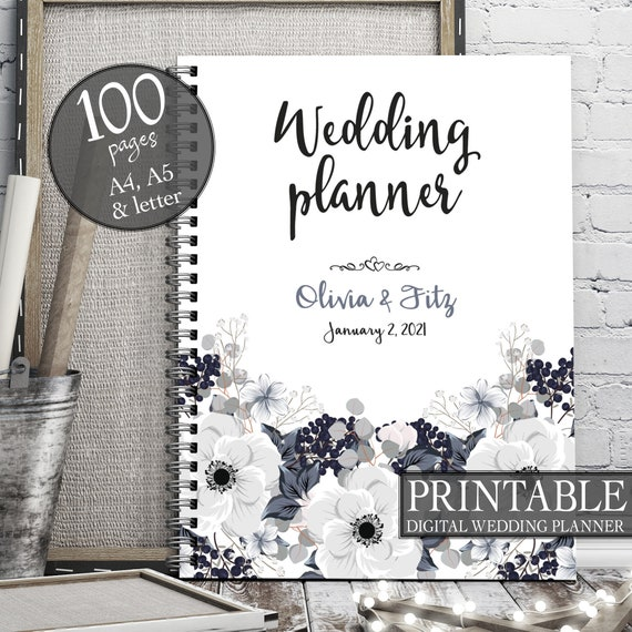 Winter wedding planner, Wedding printable binder, Printable wedding planner, DIY floral wedding, Floral PDF planner, White wedding