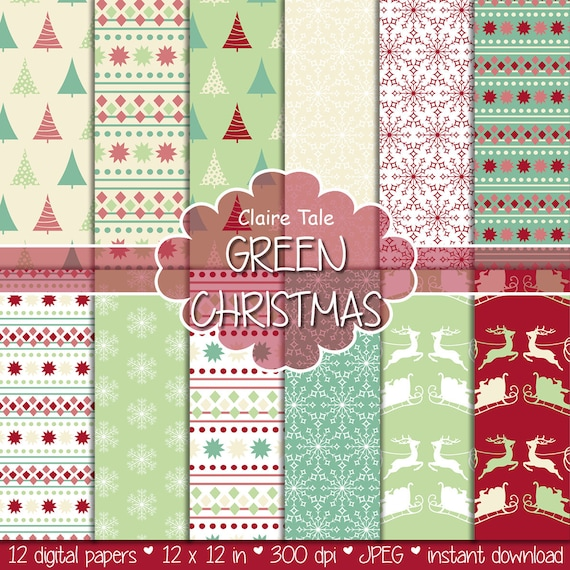 "Christmas digital paper: ""CHRISTMAS IN GREEN"" christmas backgrounds with deers, santa, snowflakes, christmas trees"