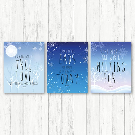 Frozen printable, frozen nursery print blue, frozen baby decor, baby decor, set of 3 prints, frozen wall art, frozen nursery art