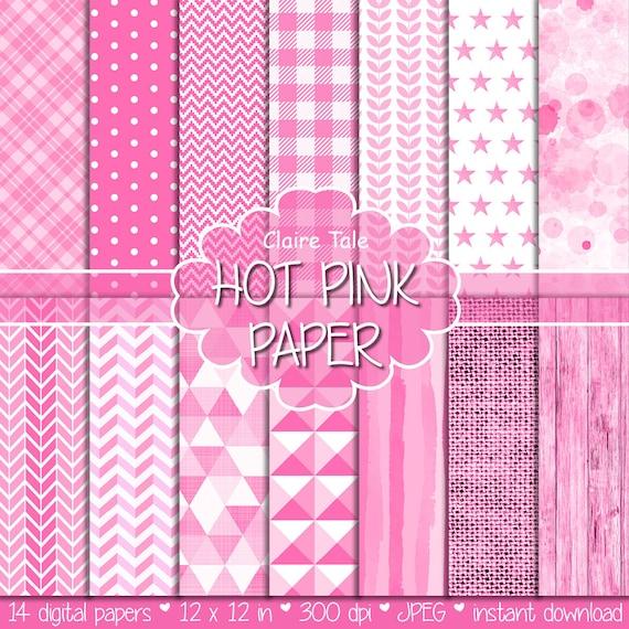 Hot pink digital paper, Hot pink printable background, Hot pink printable invitation paper, Hot pink patterned background, Hot pink wood