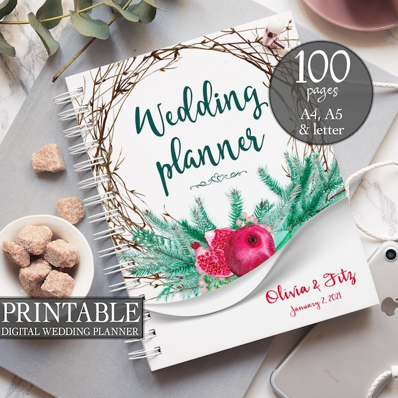 Winter wedding planner, DIY wedding binder, Pine wedding binder, Wedding checklist, Printable wedding planner, Wedding to do, DIY planner