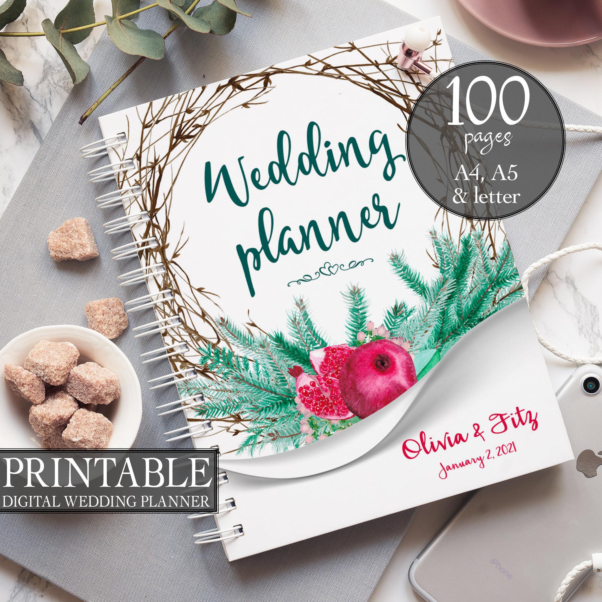 Winter wedding planner, DIY wedding binder, Pine wedding