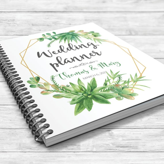 Succulents wedding planner, Geometric planning book, Succulents binder, Bridal shower gift, Wedding planner, Greenery wedding planner