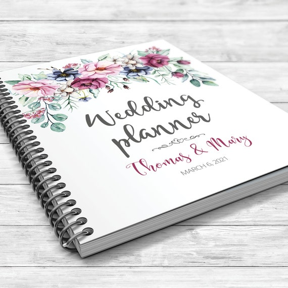 Personalised wedding planner, Floral wedding planner, Bridal shower gift, Boho wedding planner, Peonies planner,  Pink, burgundy, indigo