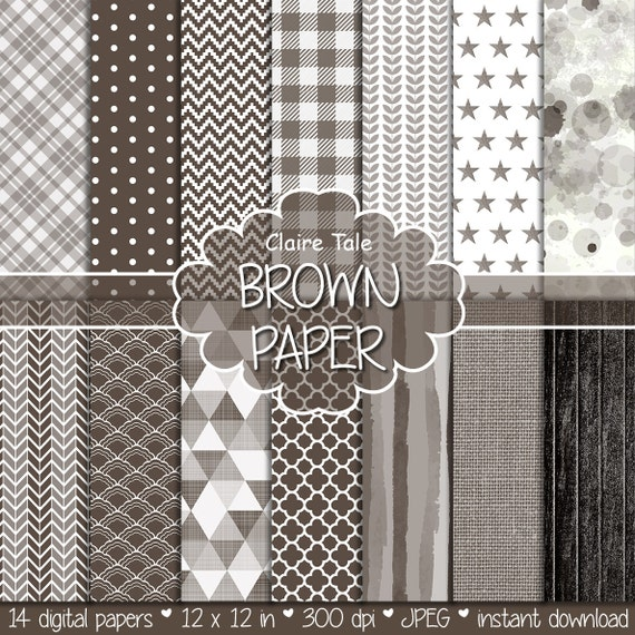 Brown digital paper, Brown digital patterns, Brown digital background, Brown printable invitation party paper, Brown scrapbooking paper