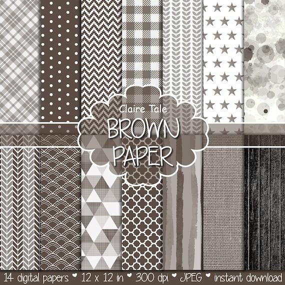 Brown digital paper, Brown digital patterns, Brown digital background, Brown printable invitation party paper, Brown scrapbooking paper
