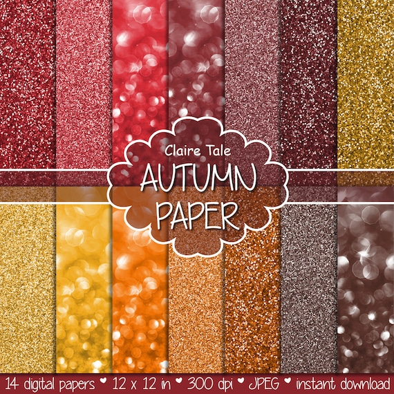 "Autumn digital paper: ""AUTUMN GLITTER & BOKEH"" fall paper, backdrop, background in red, yellow, brown for scrapbooking and photographers"