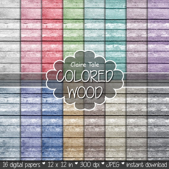 "Wood digital paper: ""COLORED WOOD"" with wood background in red, purple, blue, beige, green, brown, neutral and black"