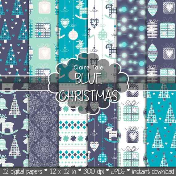 "Christmas digital paper: ""BLUE CHRISTMAS"" christmas backgrounds with deers, snowflakes, christmas trees, lights, gifts, balls, damask"