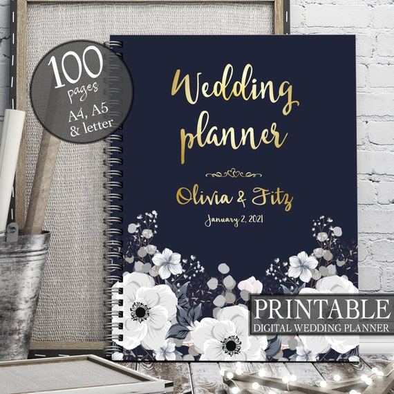 Floral wedding planner, Wedding printable binder, Printable wedding planner, DIY floral wedding, Floral PDF planner, Winter wedding