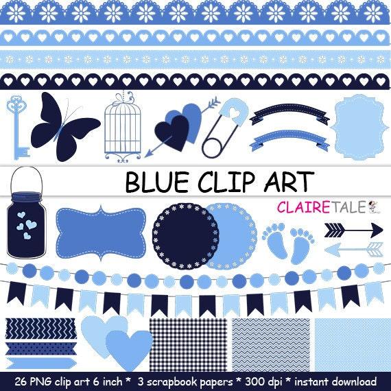 "Digital ""BLUE CLIP ART"" frames, labels, ribbons, borders, flags, arrows, butterfly, lights, hearts, mason jar, key, bird cage, baby shower"