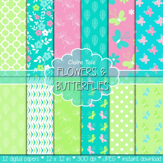 "Spring digital paper: ""FLOWERS & BUTTERFLIES"" paper pack in green, blue, pink with flowers, butterflies, quatrefoils, leaves and polka dots"
