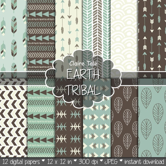 """Tribal digital paper: """"EARTH TRIBAL"""" with tribal patterns and tribal backgrounds, arrows, feathers, leaves, chevrons in earth colours"""