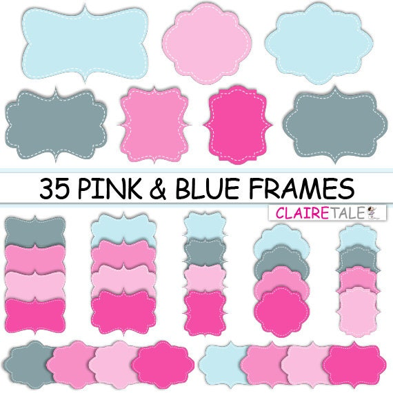 "Digital clipart labels: ""PINK & BLUE DIGITAL frames"" clipart frames, labels, tags for scrapbooking, cards, invitation, stationary, albums"