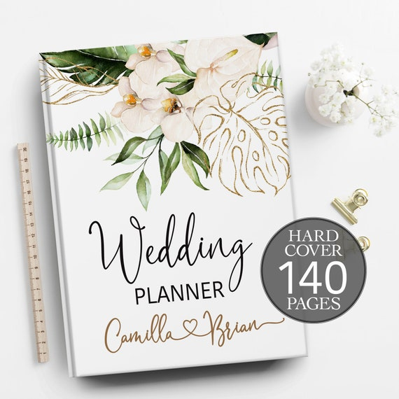 Tropical wedding planner, Wedding planner,  Jungle wedding planning book, Summer wedding binder, Bridal shower gift, Personalised planner