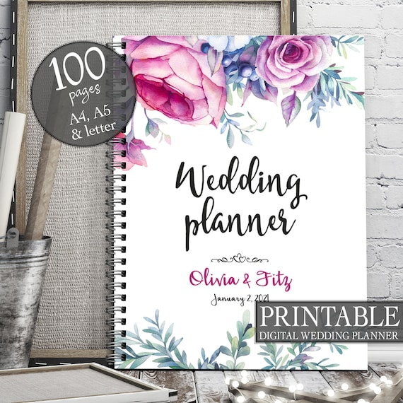 Roses wedding planner, Instant download wedding planner, Spring wedding planner, Pink wedding binder, Wedding organiser, Wedding checklist