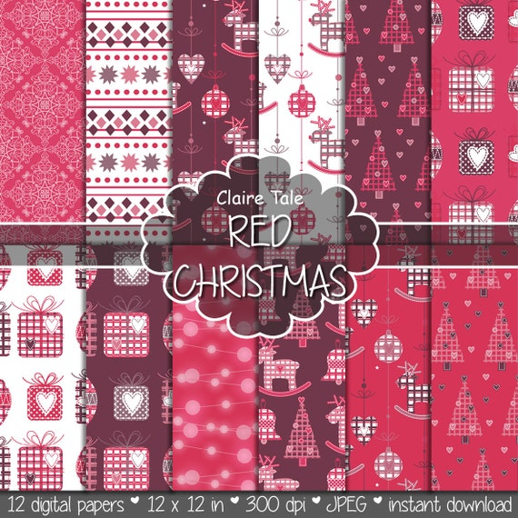 "Christmas digital paper: ""RED CHRISTMAS"" christmas backgrounds with deers, snowflakes, christmas trees, lights, gifts, balls, damask in red"