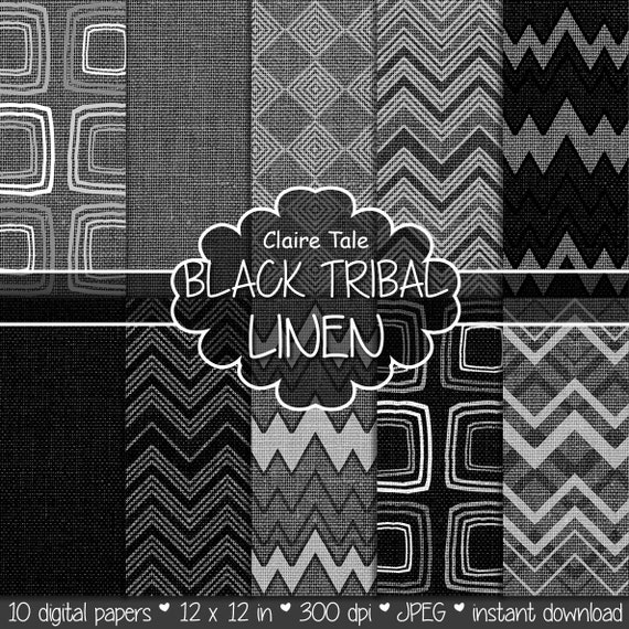 "Tribal digital paper: ""BLACK TRIBAL LINEN"" with tribal patterns on linen canvas in black color backgrounds and textures for photographers"