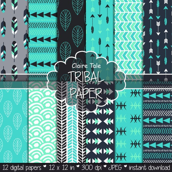 "Tribal digital paper: ""TRIBAL PATTERNS"" with tribal patterns and tribal backgrounds, arrows, feathers, leaves, chevron in blue and turquoise"