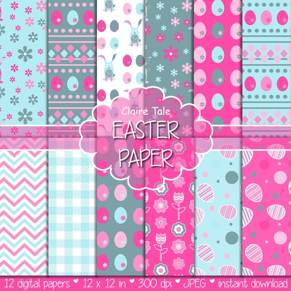 "Easter digital paper: ""EASTER PAPER"" with easter eggs, bunnies, flowers, tulips, chevrons, gingham pattern in pink and blue"
