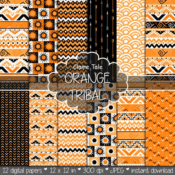 "Tribal digital paper: ""ORANGE TRIBAL"" with tribal patterns and tribal backgrounds, arrows, feathers, leaves, chevrons in orange and black"