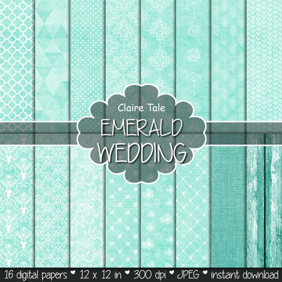 "Emerald digital paper: ""EMERALD WEDDING"" with emerald green damask, lace, quatrefoil, flowers, hearts, polka dots, triangles, linen, wood"