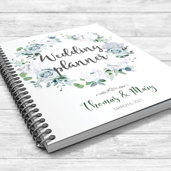 Winter wedding planner, Greenery planner, Green, jade, sage binder, Echeveria blue succulent, hydrangea, rose, eucalyptus, white ranunculus