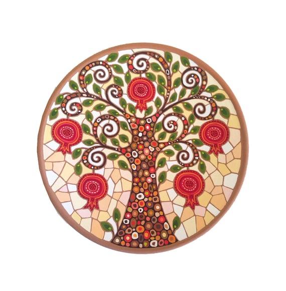 Decorative Plate Pomegranate Tree Ceramic Plate Etsy