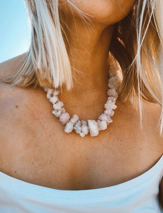 Rose Quartz choker, natural crystal necklace gemstone, raw rose quartz