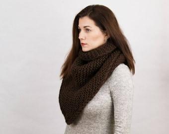 Oversized knit shawl- Chocolate knit scarf- Knit infinity scarf-Christmas Gift idea-Knit scarf-boho scarf-winter scarf