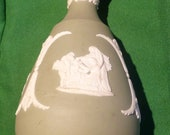 WEDGWOOD Made in England Jasperware White on Green Five Inch (5 quot ) Bud Vase