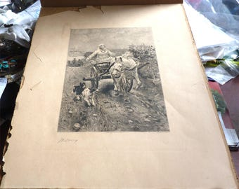 "1891 Etching by Frederick Dielman ""Merry Morning"""