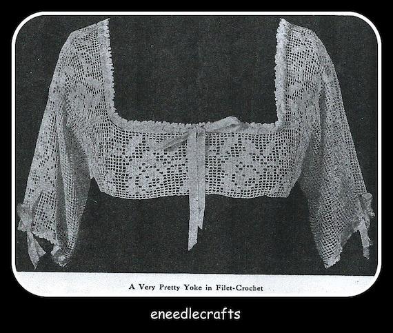 Vintage Filet Crochet Gown Yoke Pattern With A Rose Design Etsy