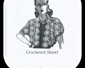 Vintage Crocheted Lacy Shawl Pattern - By Laura Wheeler - From 1940 - On Instant Download