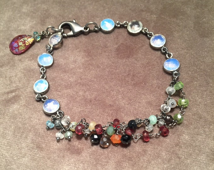 Opalite and mixed gem chain bracelet