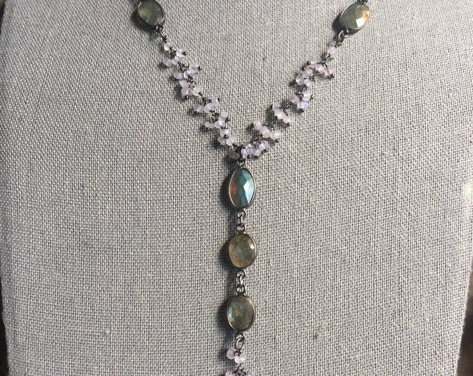 Labradorite and rainbow moonstone dangle chain necklace
