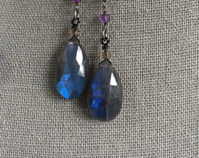 Labradorite teardrops on amethyst chain earring