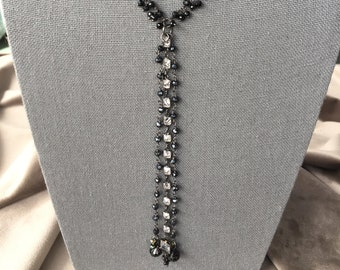 Black spinel black onyx and cubic zirconia necklace