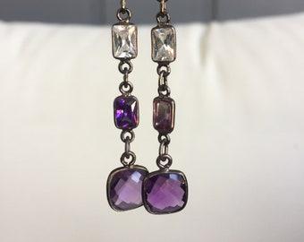 Amethyst and gem stone earring