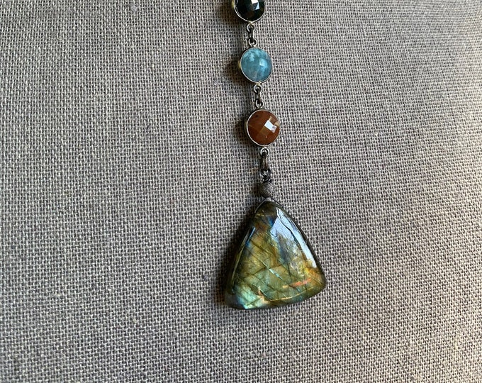 Labradorite Triangle Pendant Necklace with Moss Agate