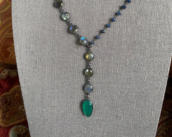 Green Onyx Labradorite and Sapphire chain Necklace