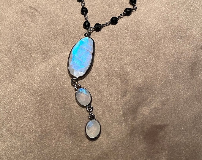 Triple Rainbow Moonstone Drop necklace