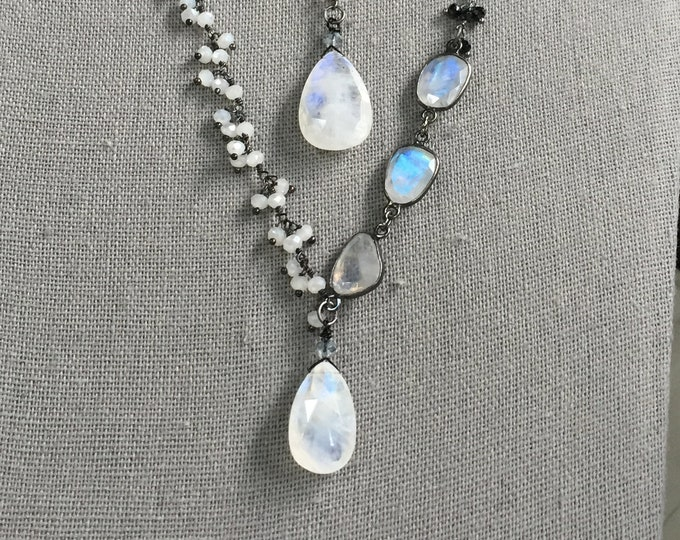 SOLD! This item is no longer available.Rainbow Moonstone and black spinel dangle chain necklace