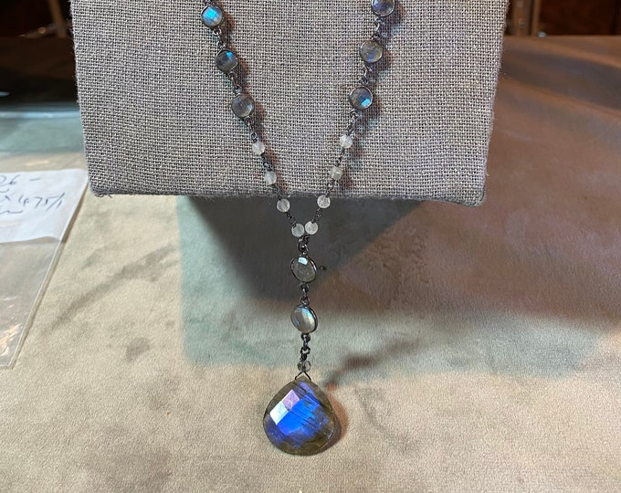 Labradorite Heart shaped pendant drop necklace